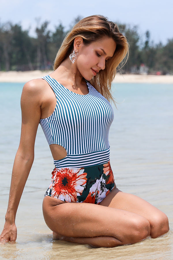 First Choice Stripe Floral One-Piece Swimsuit