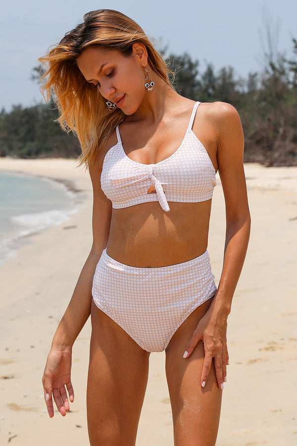 Stripe High-Waisted Bikini Set
