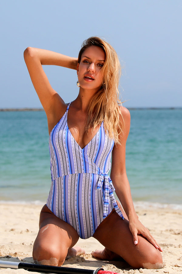 Stripe Tie Knot One-Piece SwimSuit