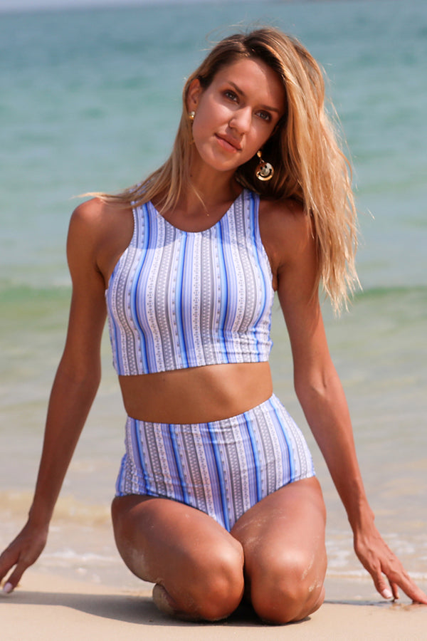 Vintage Vertical Stripes Cross-Back Swim Bikini Set