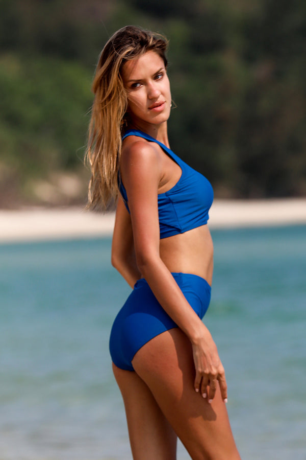 Blue Solid High Waist Bikini Set