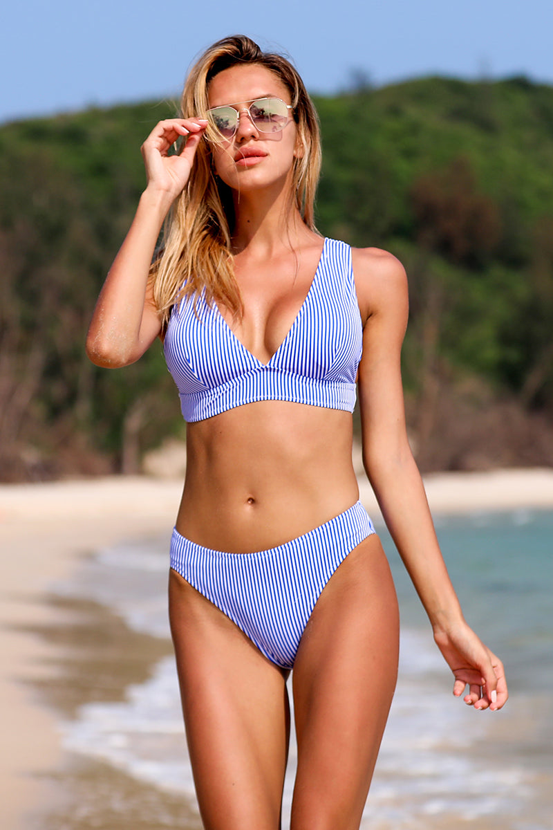 Blue Shock Crop Candy Stripe Bikini Set