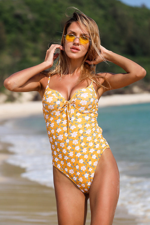 Flowers Print Tie One Piece Swimsuit