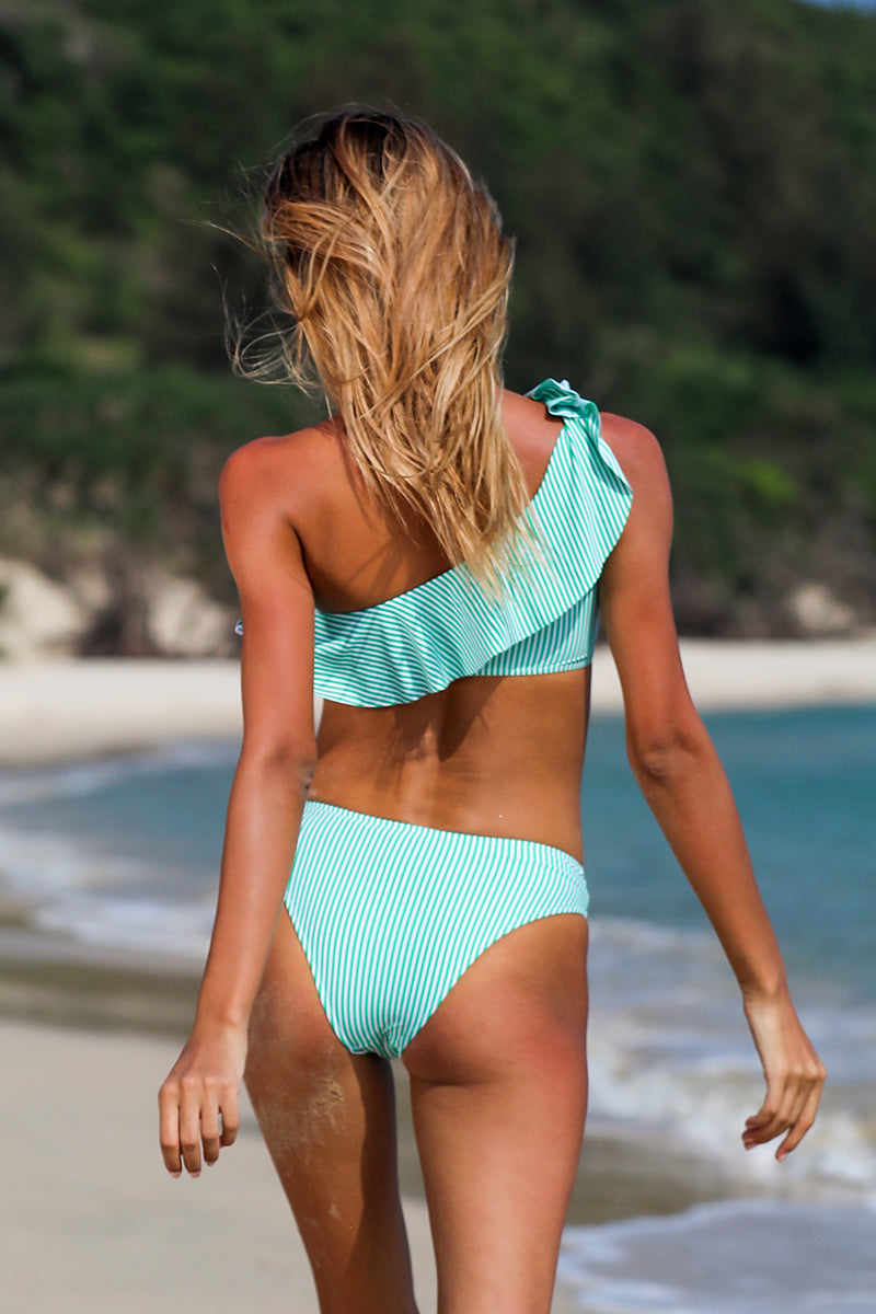 Mint Green Ruffle One Shouder Stripe Bikini Set