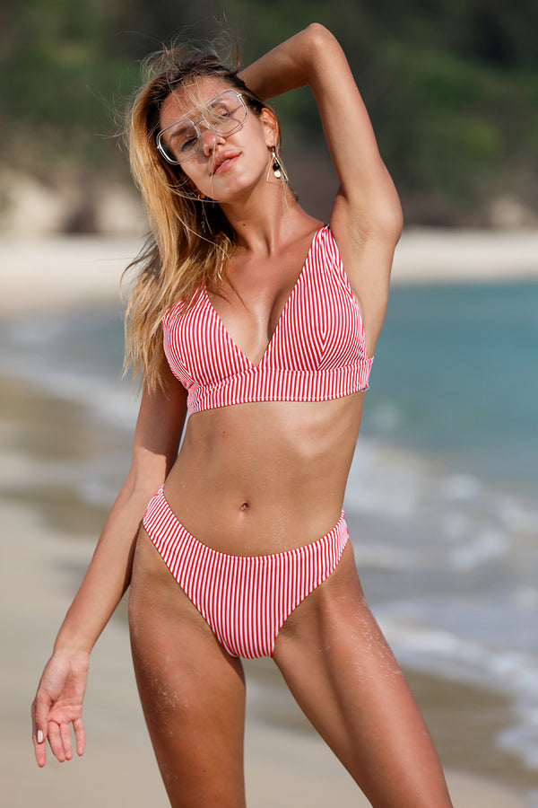 Pink Shock Crop Candy Stripe Bikini Set