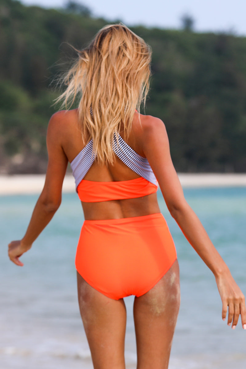 Orange Solid High Waist Bikini Set