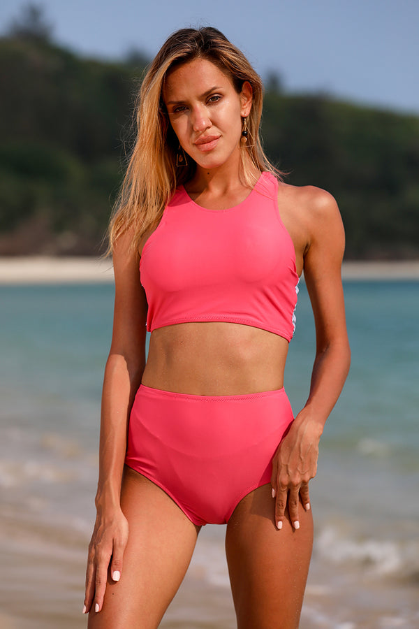 Rose Red Solid High Waist Bikini Set