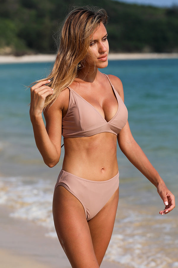 Dark Pink Solid High Waist Bikini Set