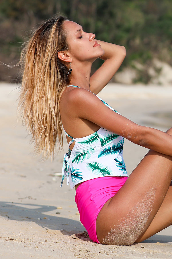 Leaf Print High Waist Two-Piece Swimsuit