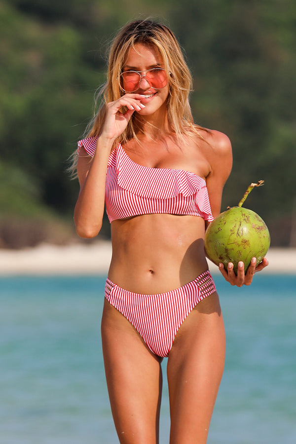 Pink Ruffle One Shouder Stripe Bikini Set