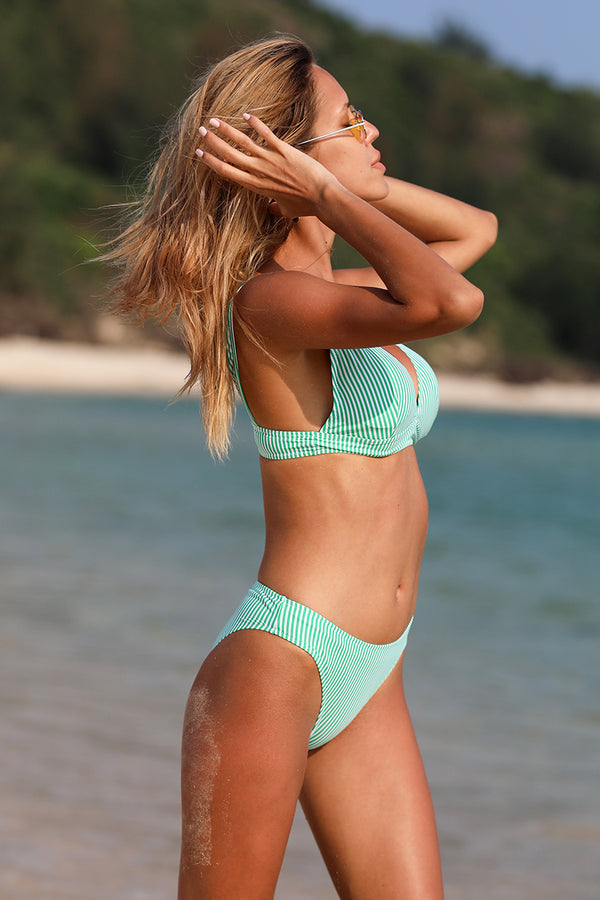 Light Green Stripe High Waist Bikini Set