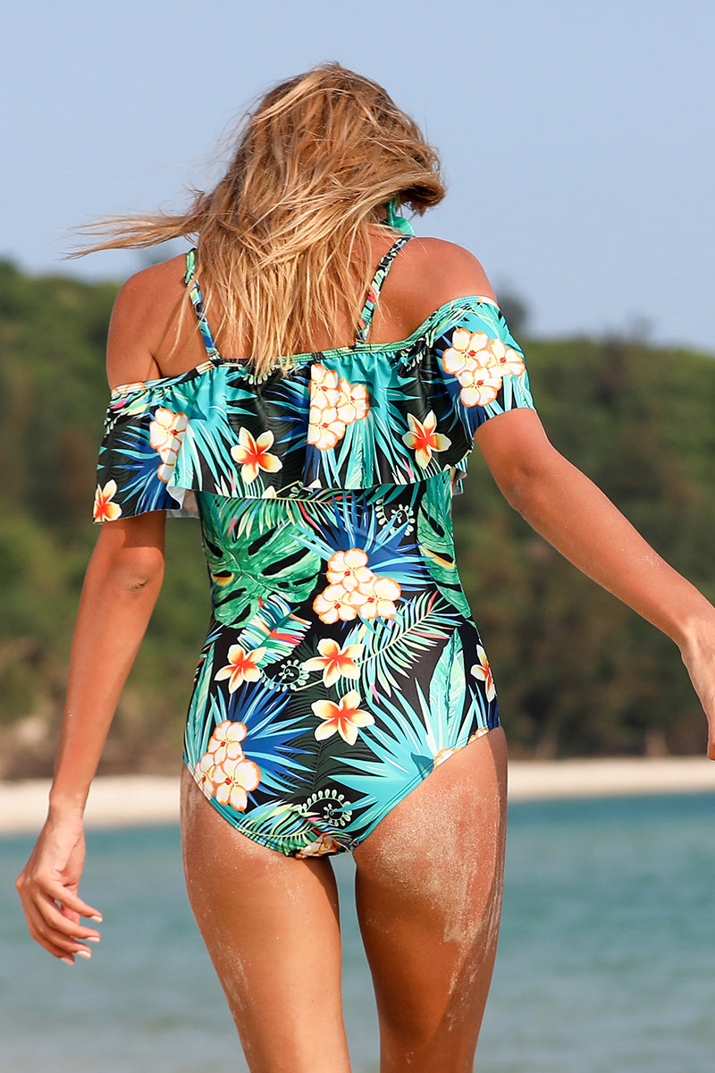 Floral Ruffle Off-Shoulder One Piece Swimsuit