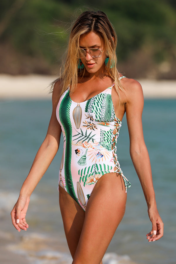Plant Print One Piece Swimsuit