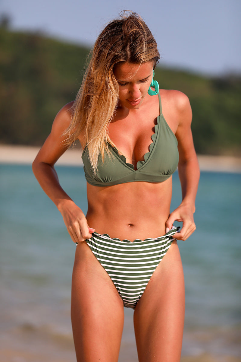 Army Green V-Neck Stripe Bikini Set