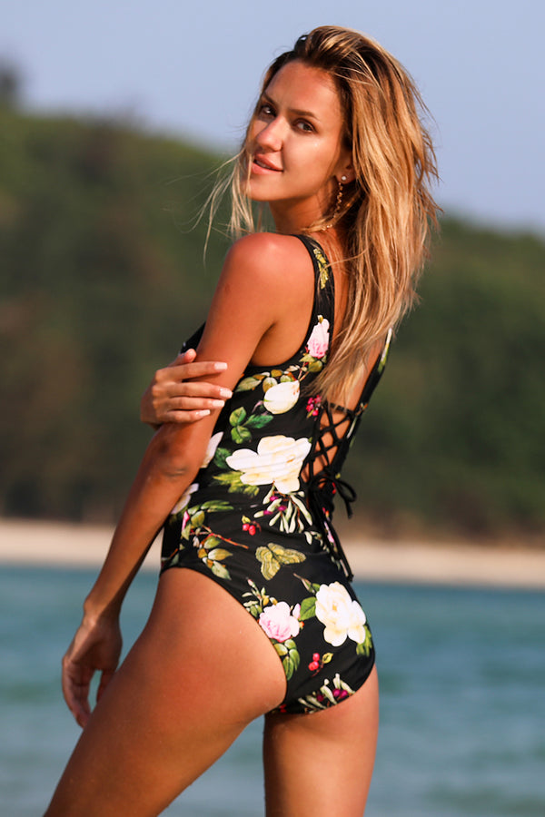 Floral Print Open Back One Piece Swimsuit