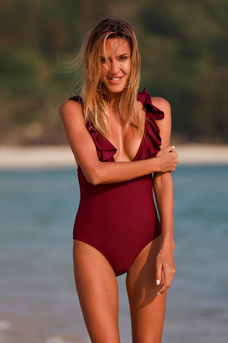 Burgundy Solid One Piece Swimsuit