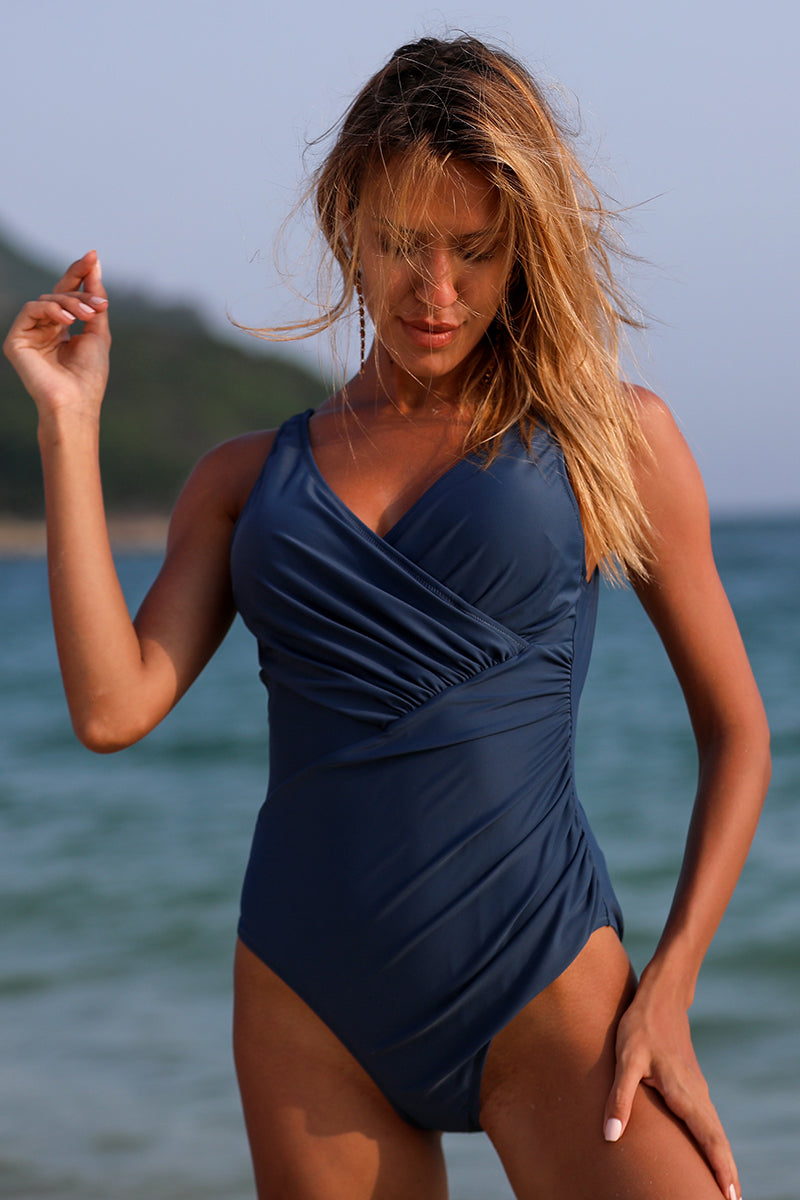 Ruched Navy Solid One Piece Swimsuit
