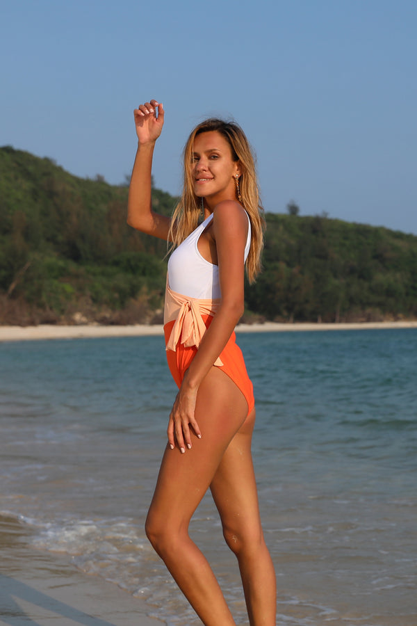 Orange And White Bowknot One-piece Swimsuit