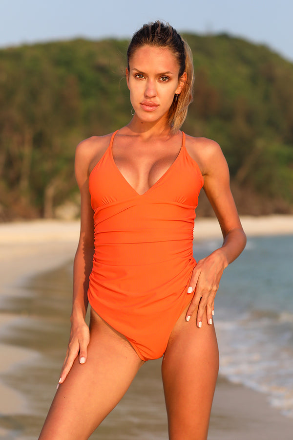 Solid Halter One-Piece Swimsuit