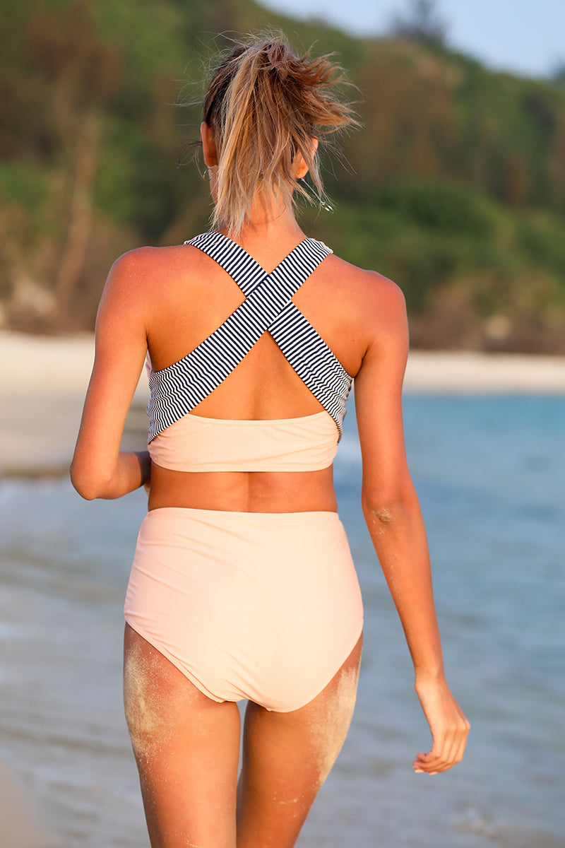 Beige Cross-Back Swimsuit