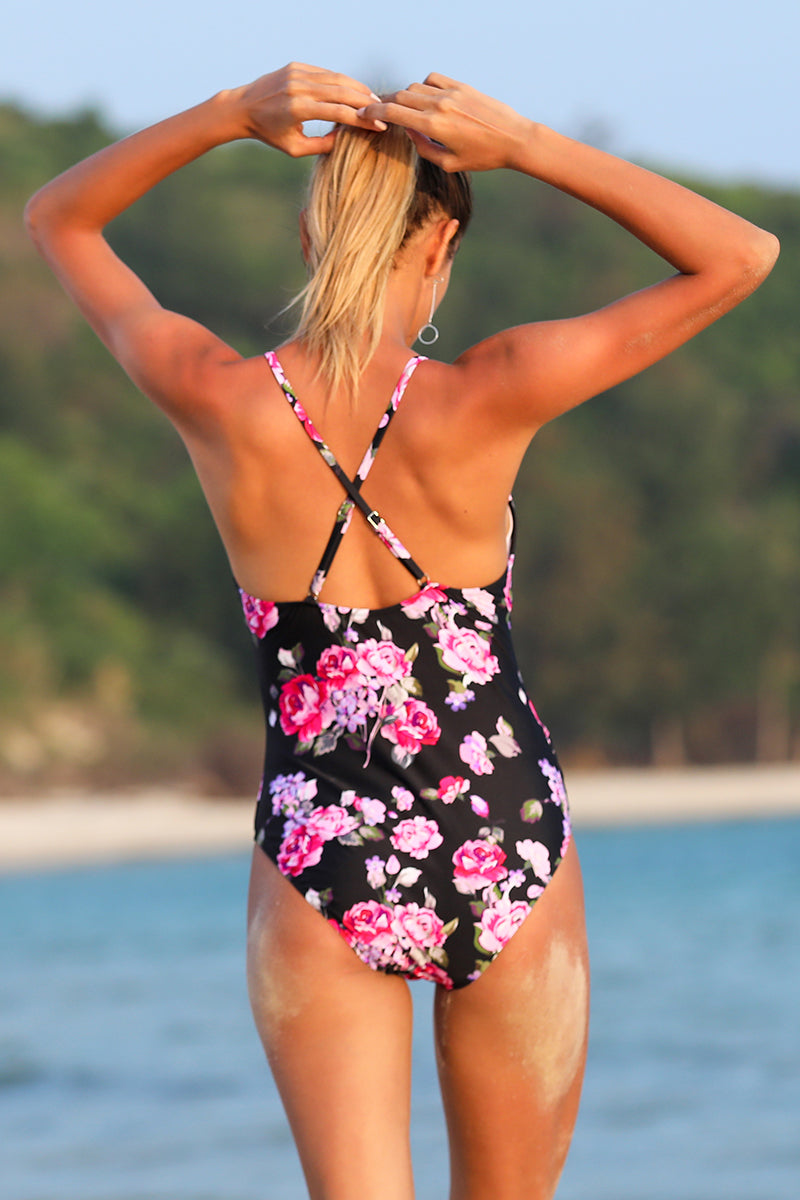 Floral Back Cut-Out Top Knot One-Piece