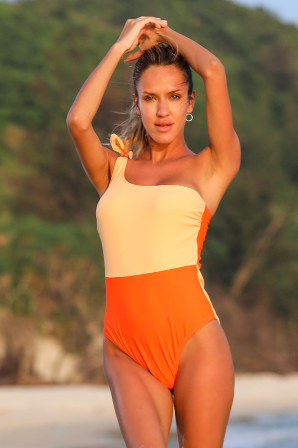 Nautical Color Block One-Piece Swimsuit