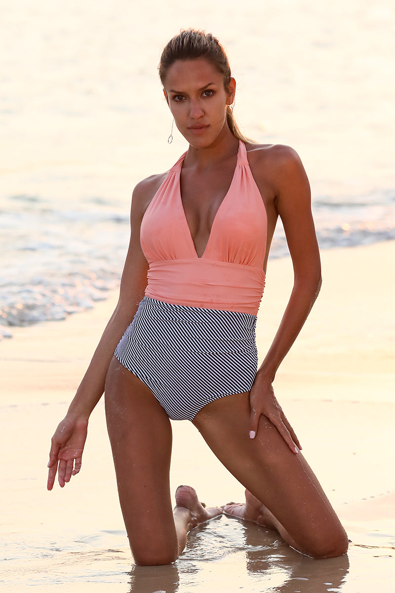 Love Sunshine V-neck One-Piece Swimsuit