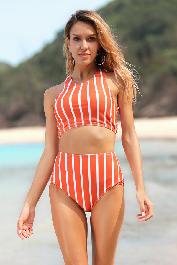Vintage Cross-Back Stripe Swim Bikini Set