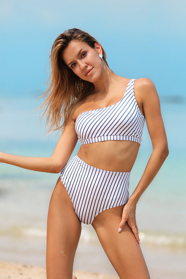 Diagonal Striped One-Shoulder Bikini Set