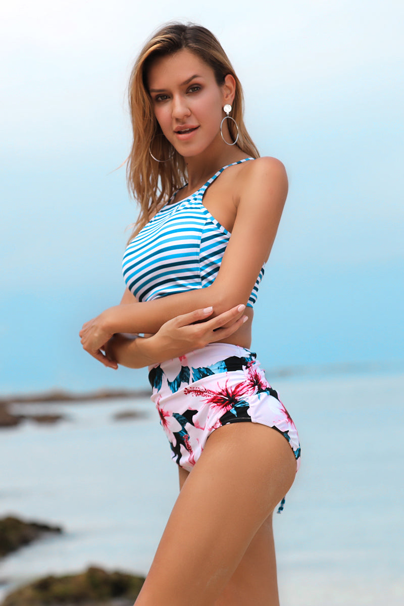 Love Stripe Switchback Swim Bikini Set