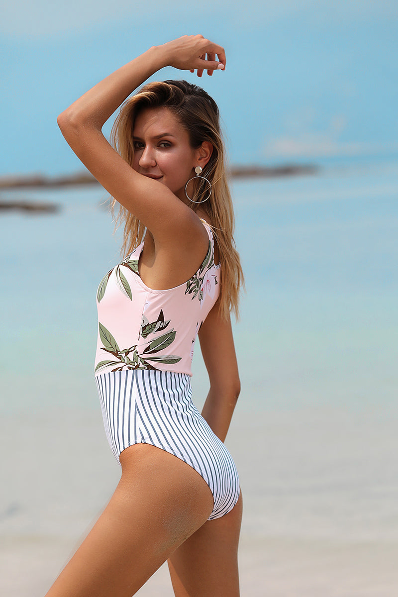 Summer Magic Floral Stripe One-Piece Swimsuit