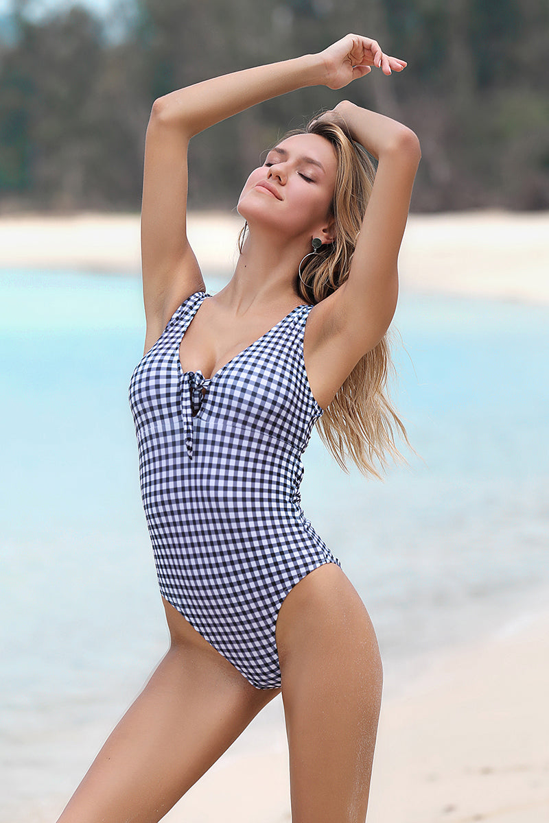 BLACK AND WHITE CHECK TOP KNOT ONE-PIECE