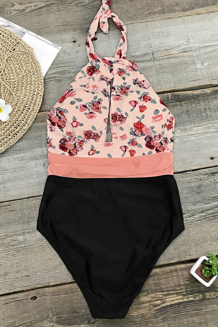 Pink And Black Print One-Piece Swimsuit