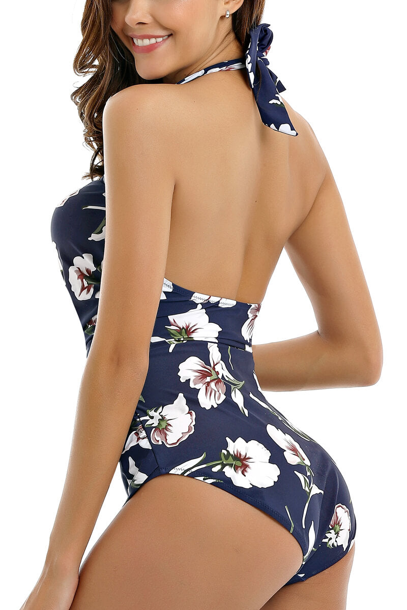 Flowers Print Halter One-piece Swimsuit