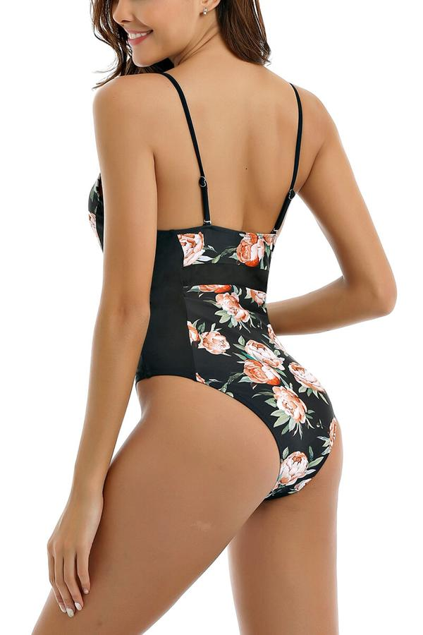 Happy Time Print One-piece Swimsuit