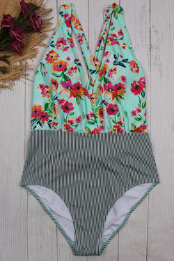 Countryside Style Floral One-piece Swimsuit