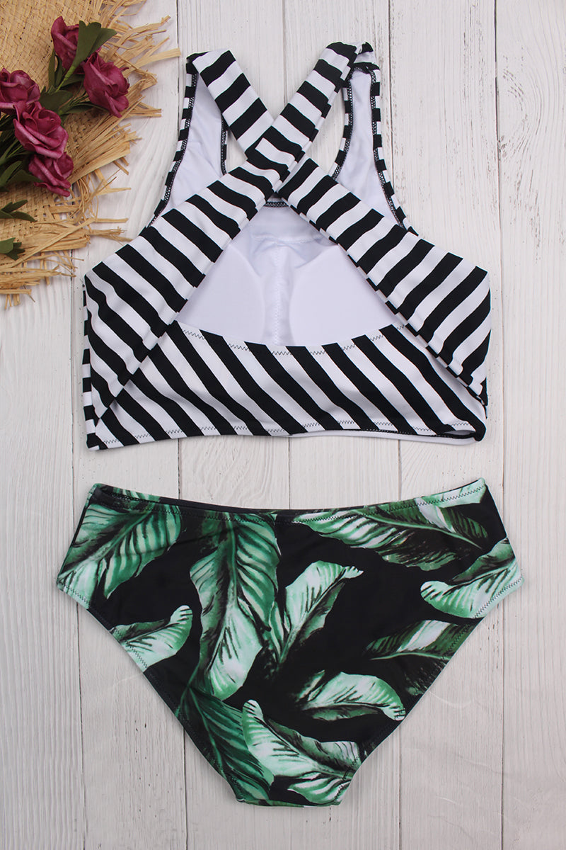 Horizontal Stripes Green Leaves Swimsuit