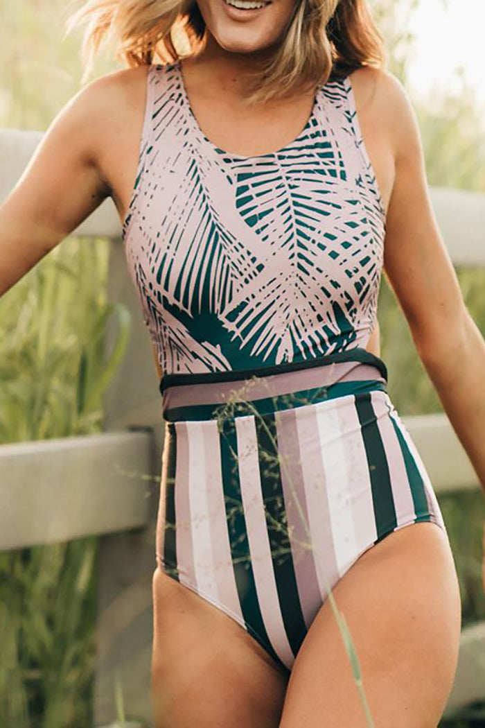 Diamond Lavender Palm One-Piece  Swimsuit