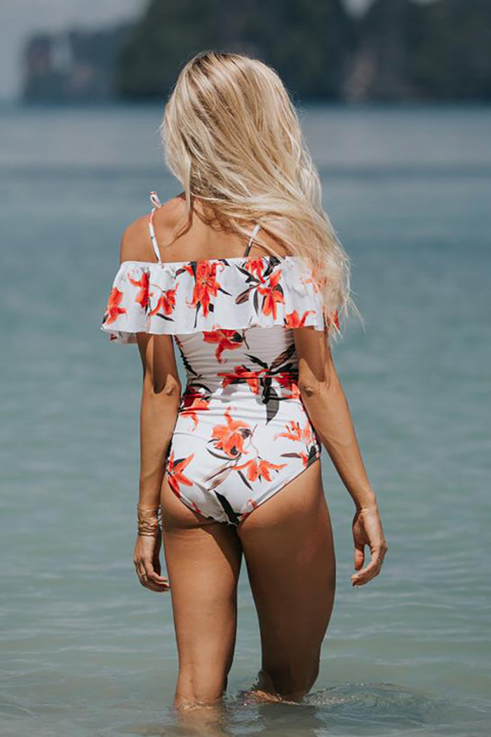 VINTAGE RUFFLE OFF-SHOULDER ONE-PIECE SWIMSUIT