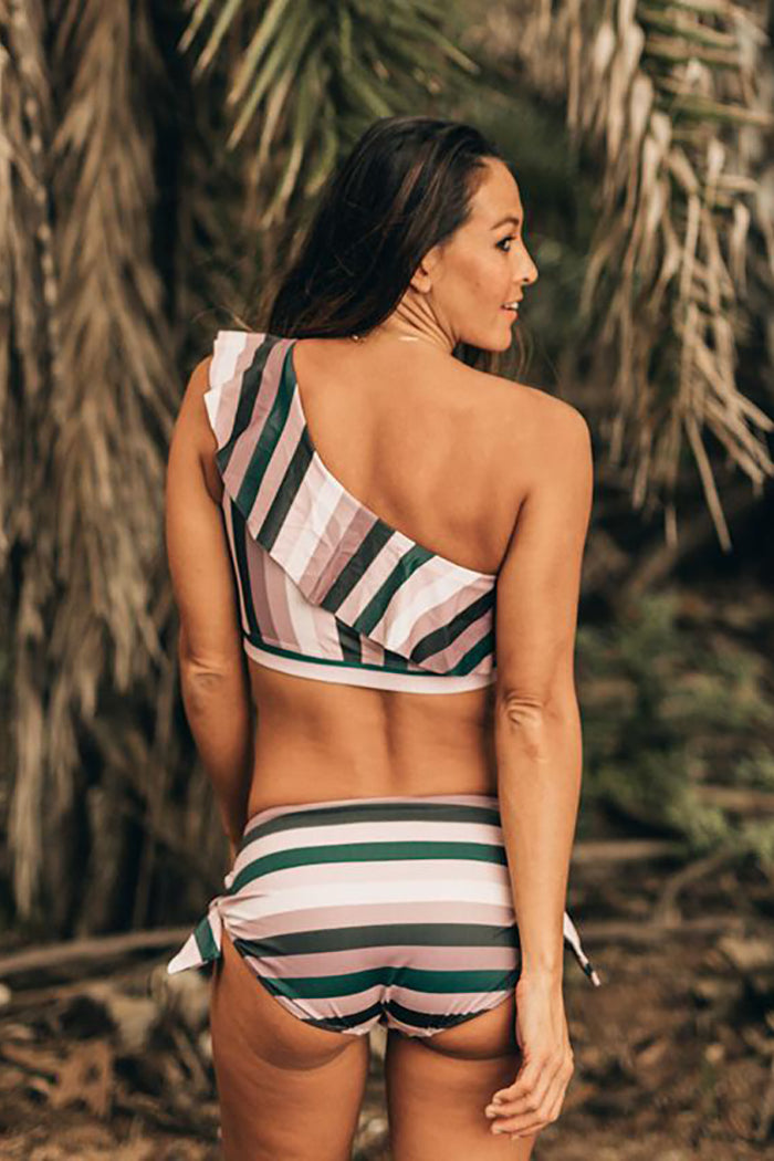 Classic Striped Ruffled One-Shoulder Bikini Set