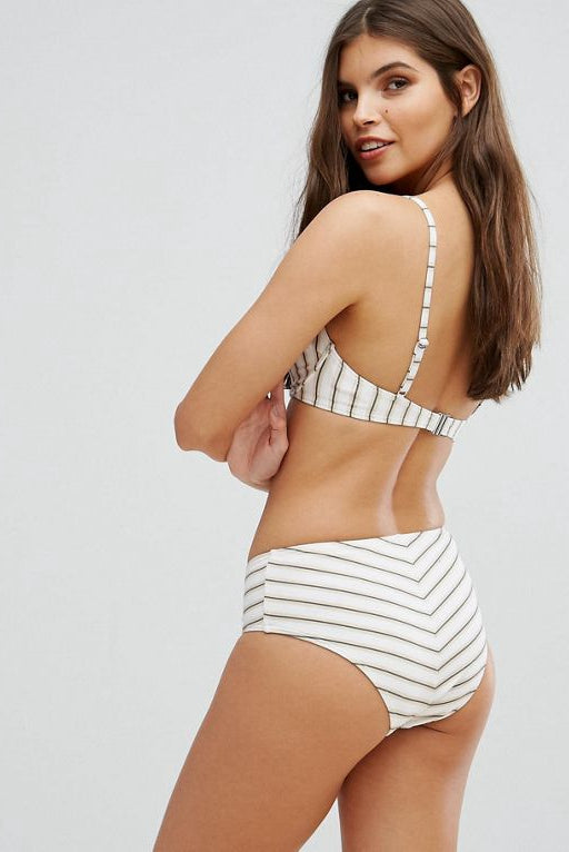 Stripe High  V Bikini Swimsuits