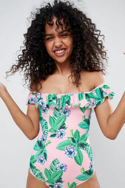 Monki Tropical Off Shoulder Swimsuit