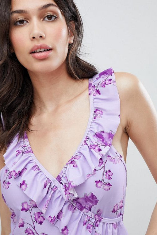 floral frill detail swimsuit