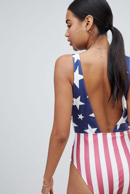 Signature 8 Deep Plunge Stars & Stripe Swimsuit
