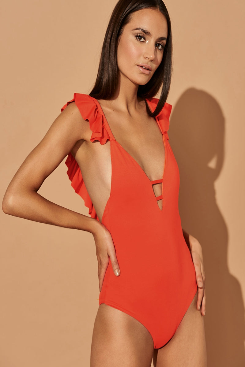 CORAL RUFFLES ONE PIECE SWIMWEAR
