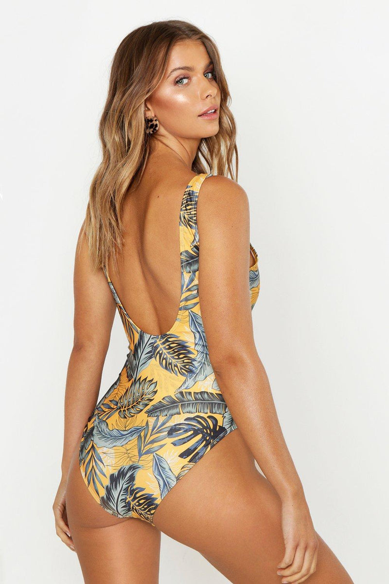 Palm Print Scoop Swimsuit