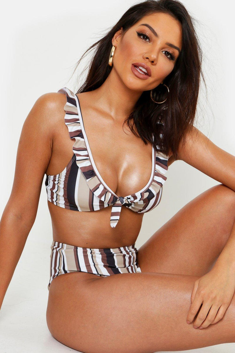 Striped Ruffle Trim Bikini