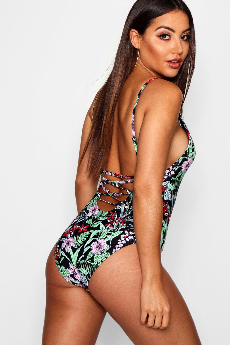 Dark Floral Low Lace Up Back Swimsuit