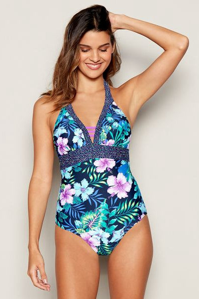 Floral Print 'Wahine' Non-Wired Padded Swimsuit
