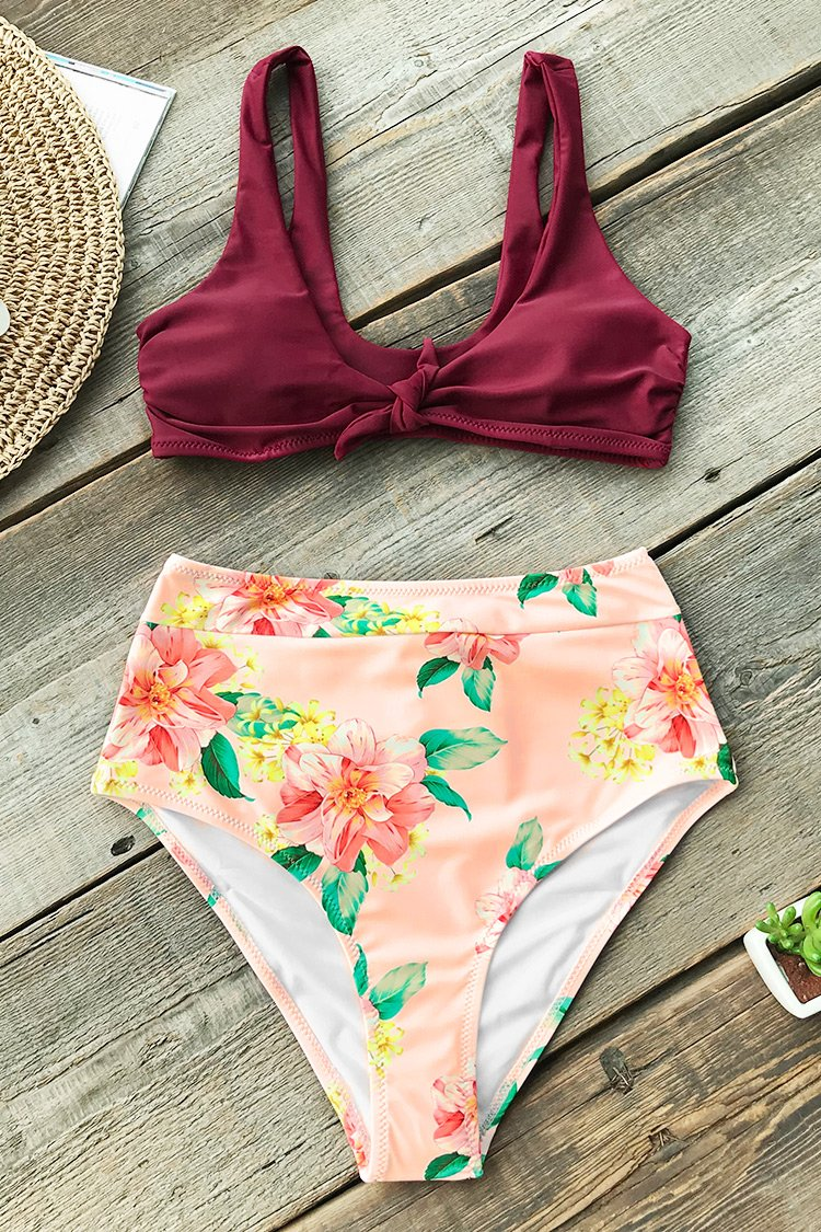 Wine Red Floral Bikini